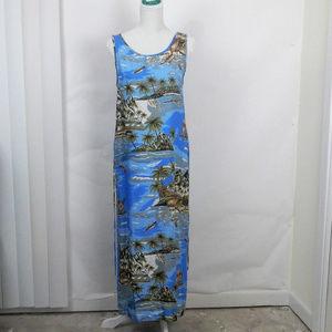 Jane Ashely Side Slits Sleeveless Maxi Dress Blue